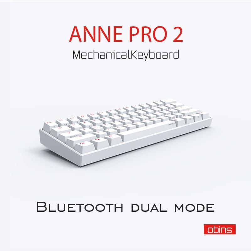 Anne Pro2 mini taşınabilir 60% mekanik klavye kablosuz bluetooth Gateron mx mavi kahverengi anahtarı oyun klavyesi ayrılabilir kablo