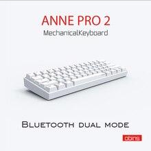 Przenośna mini klawiatura 60% Anne Pro 2, mechaniczna, bezprzewodowa, na Bluetooth, z przełącznikiem Gateron mx Blue Brown, gamingowa, z odłączanym kablem