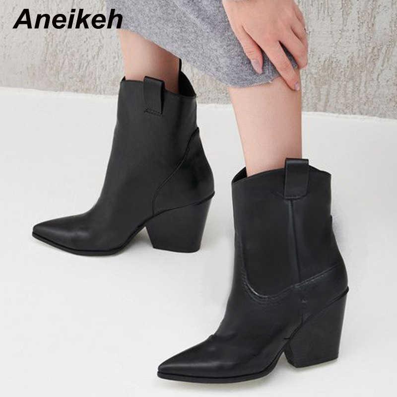 Aneikeh 2020 bahar sonbahar olgun takozlar Cossacks Chelsea çizmeler sivri burun Slip-On kadın çizmeler dans yüksek topuk ayakkabı sığ