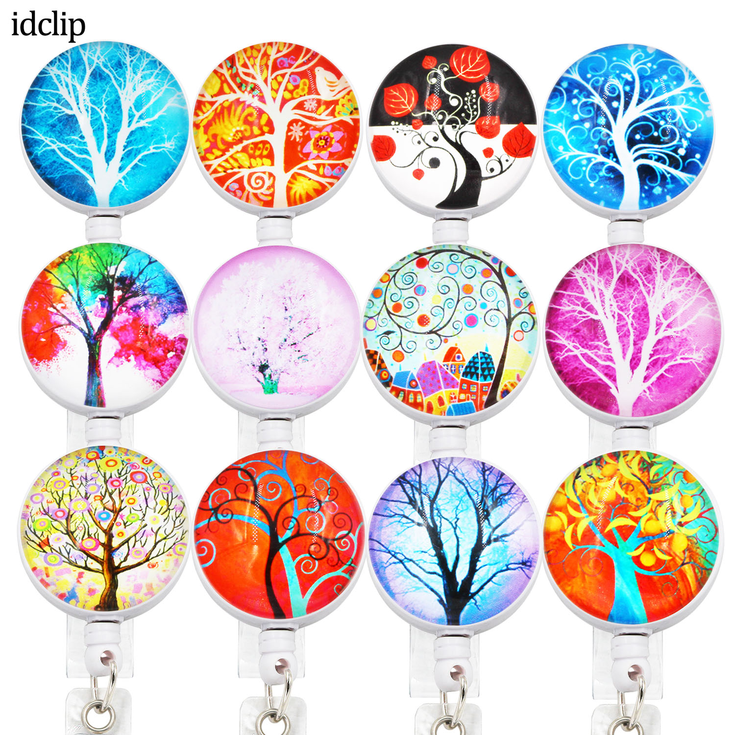 Idclip 3D Tree ID Retractable Badge Holder With Alligator Clip Retractable Cord ID Badge