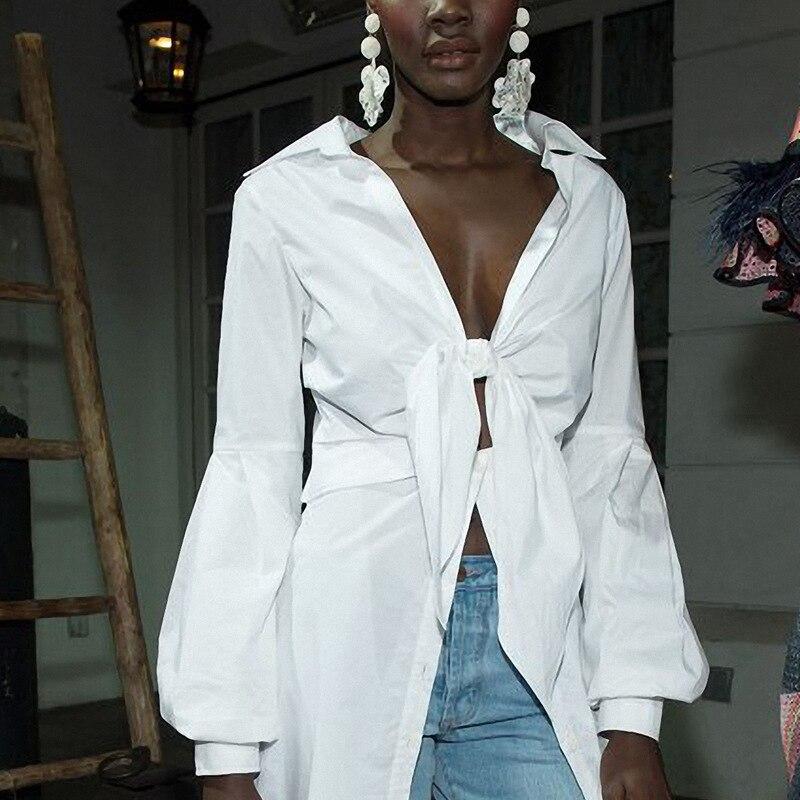 Image 5 - CHICEVER Sexy Bowknot Irregular Shirts Female Lace Up Tunic Deep V Neck Lantern Sleeve White Shirt 2020 Spring Fashion ClothingBlouses & Shirts   -