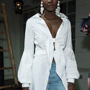 Image 5 - CHICEVER Sexy Bowknot Irregular Shirts Female Lace Up Tunic Deep V Neck Lantern Sleeve White Shirt 2020 Spring Fashion Clothing