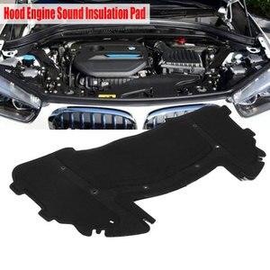 Black Car Hood Engine Sound Insulation Pad Cotton 126.5 x 64.5cm for BMW E90 E91 E92 E93 323i 325i 51487059260 with Rivet Core