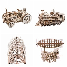 Robotime 4 Kinds DIY Laser Cutting 3D Mechanical Model Wooden Model Building Block Kits Assembly Toy Gift for Children Adult