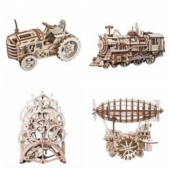 Robotime 4 Kinds DIY Laser Cutting 3D Mechanical Model Wooden Model Building Block Kits Assembly Toy Gift for Children Adult