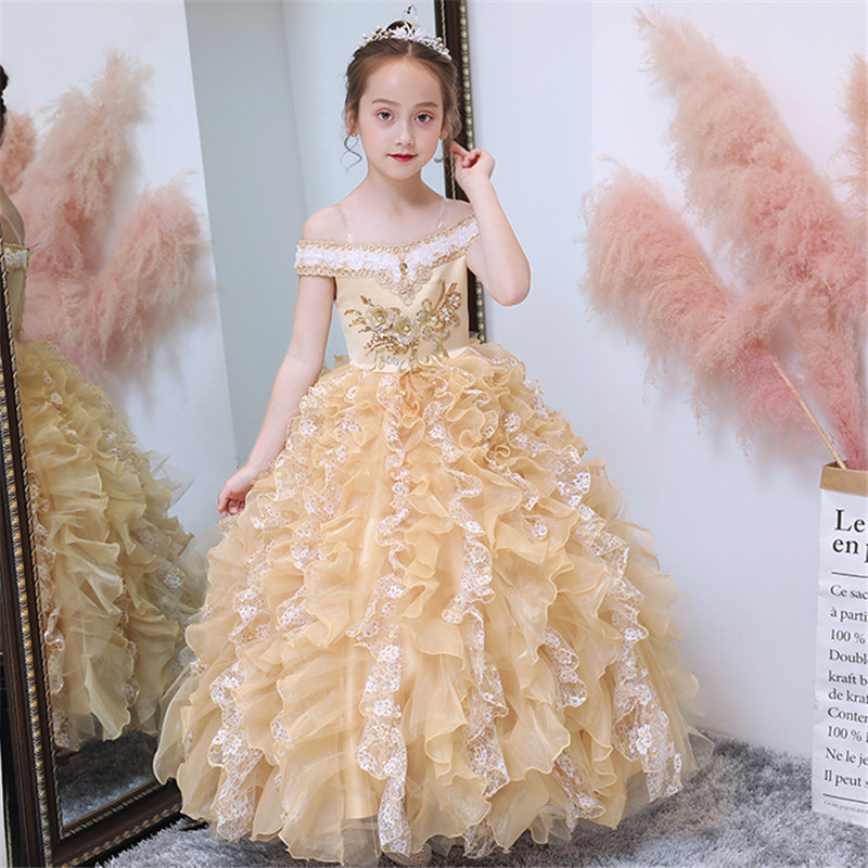 Children Girls Golden Color Noble Luxury Shoulderless Collar Wedding Birthday Party Dress Baby Kids Host Evening Party Dresses