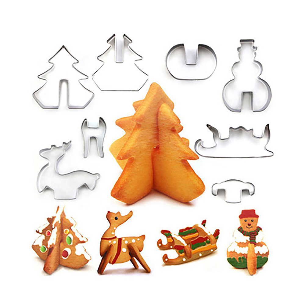 8Pcs/Set Christmas Cookie Cutters Xmas Tree Star House Biscuit Mold Fondant Cake Decorating Cookie Tools 2020 New Year Decor
