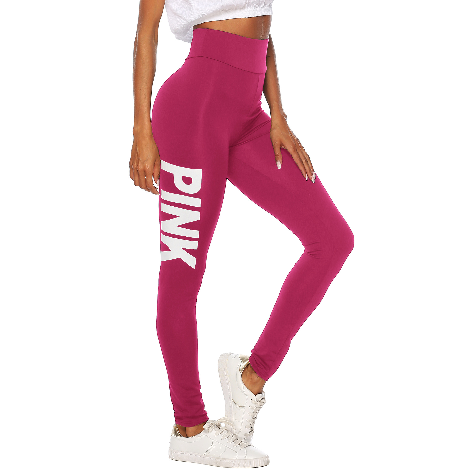 Separate Station Hot Selling WOMEN'S Dress Slim Fit Solid Color Pink Printed Letter Elasticity Tight Leggings A1813