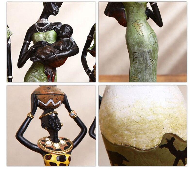 estátua africano feminino artesanal decoração de mesa