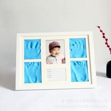Solid White Frame Baby Handprint Footprint Newborn Souvenir Children Anniversary Commemoration Lovely Blue Clay KIds Room Decor
