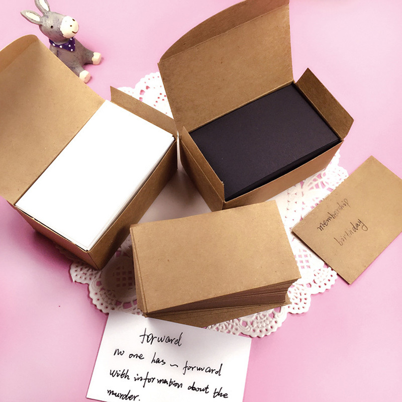 100pcs White Black Kraft Paper <font><b>Card</b></font> Message Memo Wedding Party Greeting <font><b>Invitation</b></font> <font><b>Cards</b></font> Bookmarks <font><b>Blank</b></font> Kraft Name Word <font><b>card</b></font> image