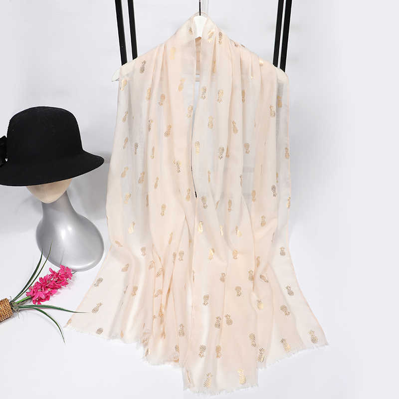2020 Luxury Brand Silk Scarf Women Cotton Women Scarf Print Pineapple White Bandana Women Foulard Femme Shawl And Capes Hijab