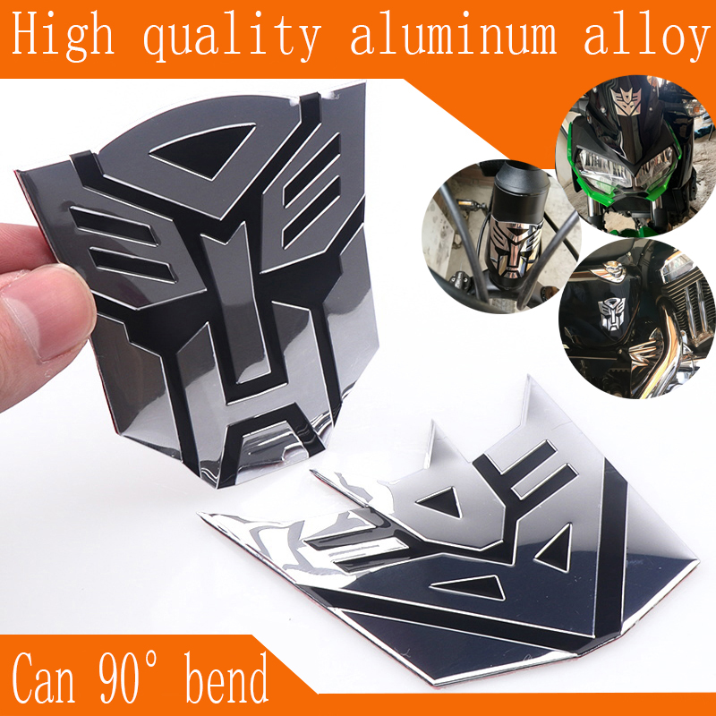 Car Styling Aluminum Cool Autobots Logo Stickers Transformers Badge EmblemTail Decals Motorcycle Bicycle Decoration Accessoires