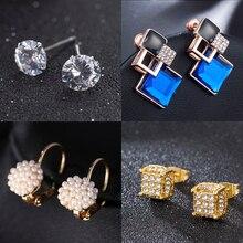 Cute Women Silver Gold Pearl Crystal Rhinestone Ear Stud Earrings Jewelry Alloy Small Earrings Aretes De Mujer Modernos 2019