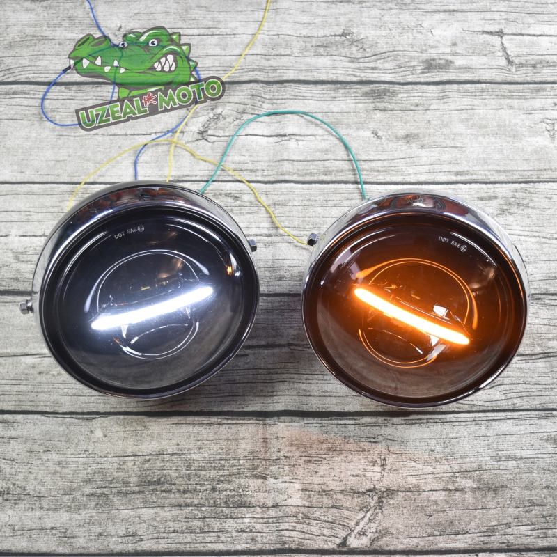 20cm 7.8 Inch Retro Motorcycle Modified Large LED Highlights Daytime Headlights Far And Low Beam Headlamp