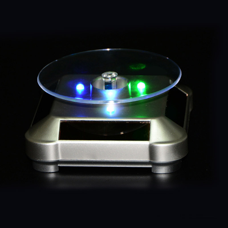 LED Light Solar Jewelry Display Stand 360 Rotating Showcase Necklace Bracelet Watch Ring Show Turntable AIC88