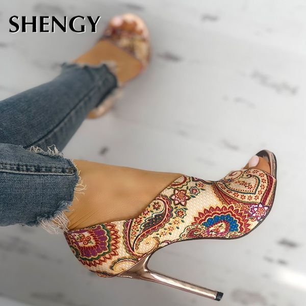 2020 Women High Heels Sandals Woman Fashion Summer Sexy Female Peep Toe High-heeled Shoes Open Toe Ethnic Print Party Sandals