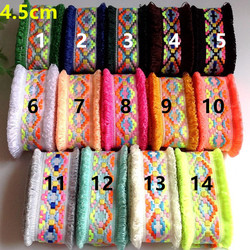 4.5cm nation style shabby dual-edge woven ribbon, folk style webbing, 14 colors available, XERY191130A
