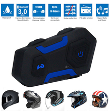 Waterproof 1200M Motorcycle Helmet 10 Riders Full Duplex Intercom Headset Wireless Bluetooth 3.0V Interphone FM Radio V10