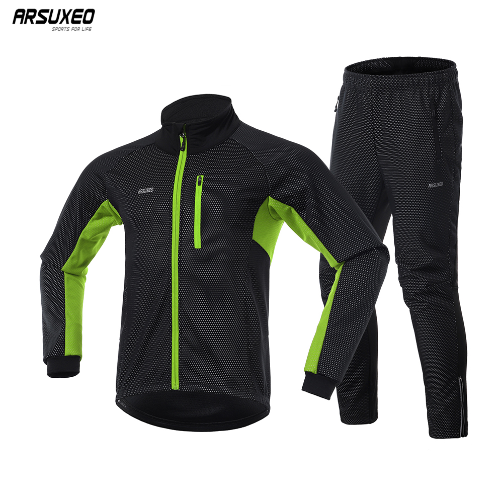ARSUXEO 2020 Men's Winter Warm Cycling jacket and pants Windbreaker Thermal Sportswear Bike Suits MTB Cycling Clothing 20A