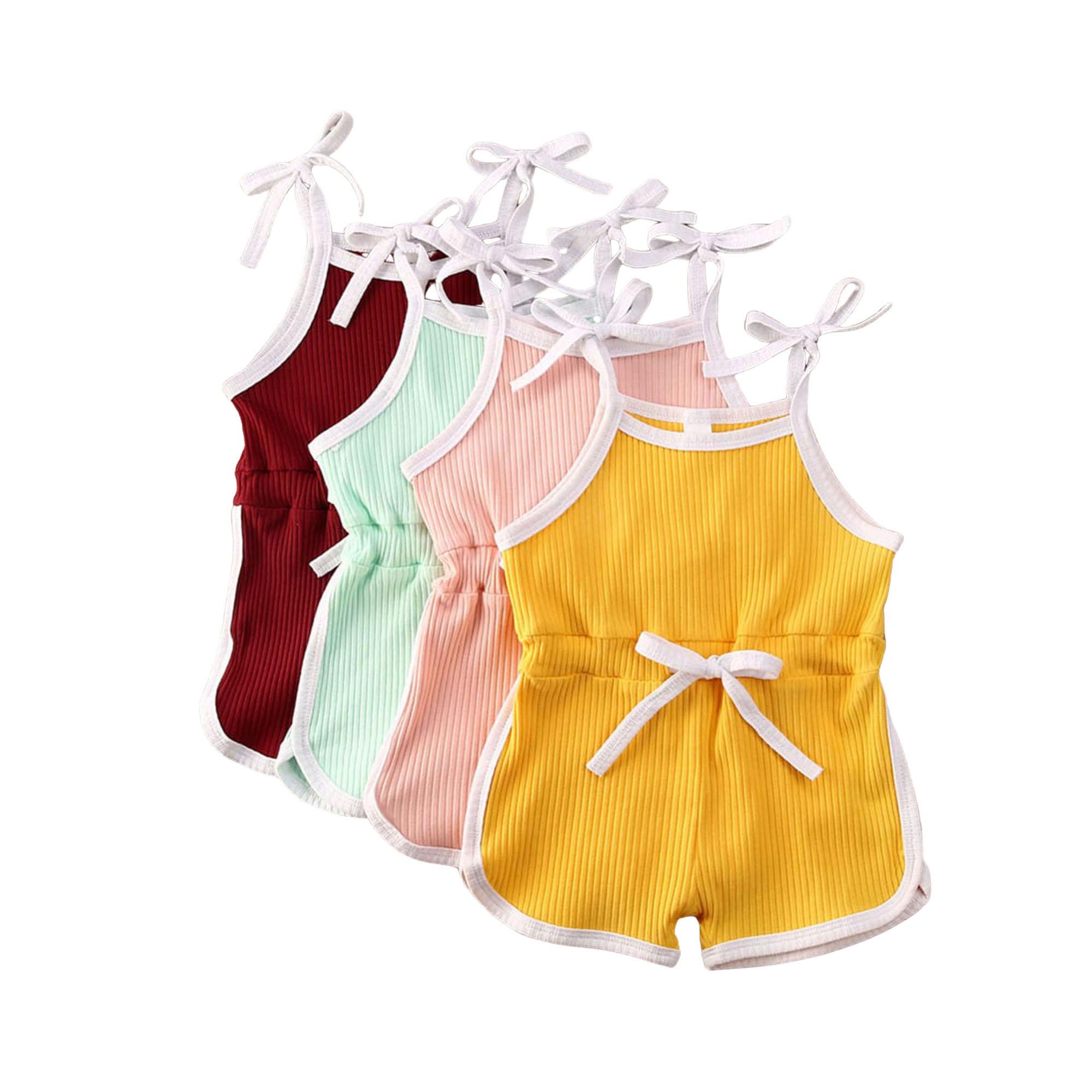 Fashion Girls Baby Kids Tops Dress Jumpsuit Cotton Sleeveless Bowtie Button US