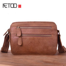 AETOO Vintage handmade men's bags, one-shoulder slanted leather mail bags, casual cowhide trend men's bags(China)