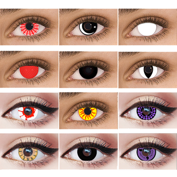 New Cosplay Demon Color Contact Lenses Women Men Anime Naruto White Purple Eyes Lens Anime Cosplay Colored Lenses for Eye 14.5mm image