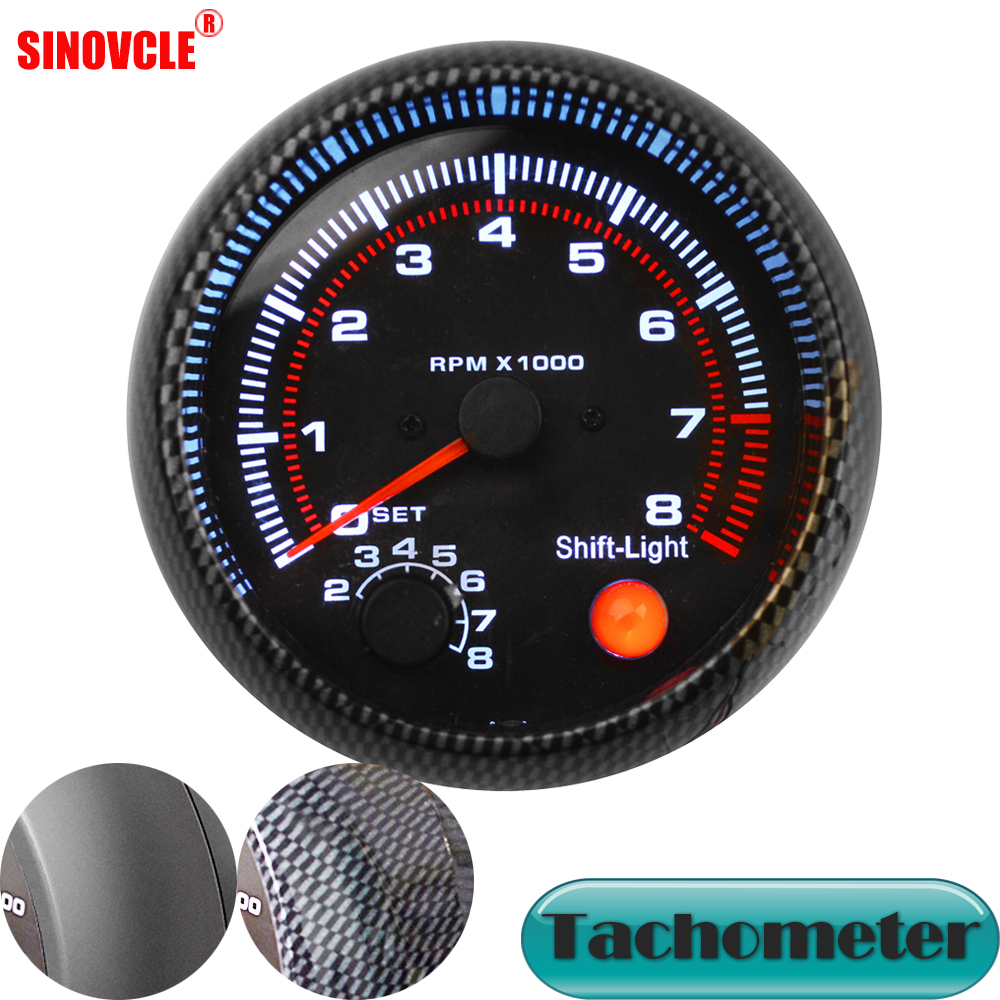 3.75 Car Universal Black Tachometer Gauge White Inter Shift Light 0-8000 RPM Carrfan