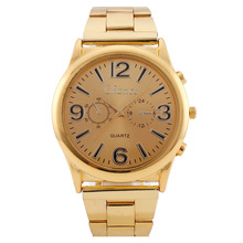 цена Large Dial Digital Three-Eye Gold Luxury Men Watch Men's Quartz Watch Steel Belt Male Clock  Sports Watch Free Shipping онлайн в 2017 году