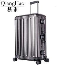 """20 """"25"""" 29 """"inç 100% alüminyum alaşımlı bagaj bavul seyahat seyahat arabası haddeleme Spinner Hardside taşıma bagaj bavul"""