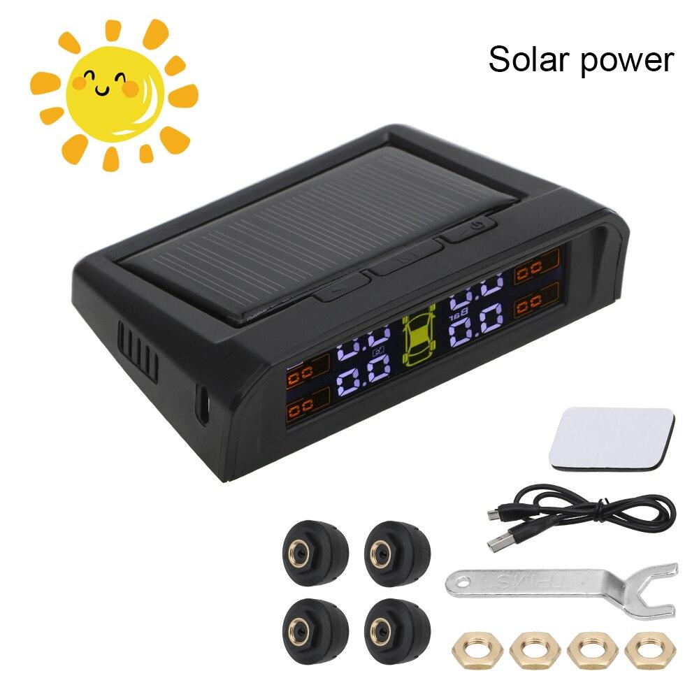 TPMS Car Tire Pressure Sensors HD Digital LCD Display Tire Pressure Alarm Monitoring System Auto Alarm USB or Solar Charging