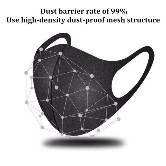 20 / 100 Pcs Cotton Cloth Face Mask Breathable Stretchable Protective Dustproof Washable Reusable Black Durable Adult PM 2.5 50 3
