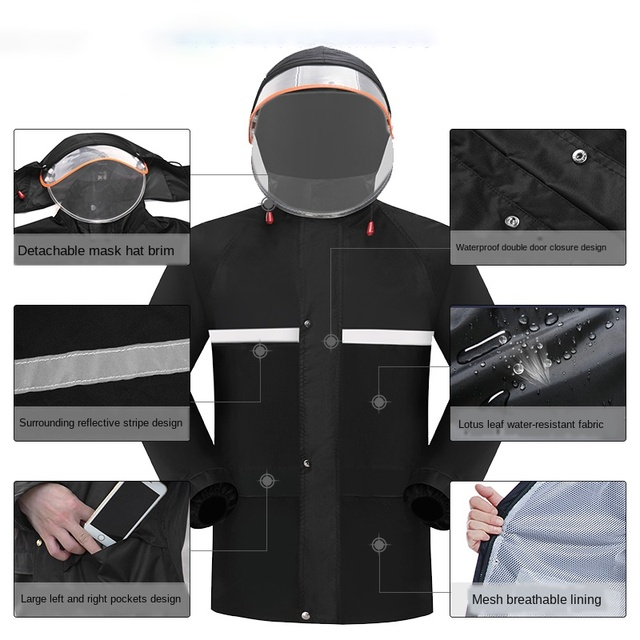 Adult Electric Motorcycle Raincoat Women Rain Pants Suit Men Rain Jacket Thickened Waterproof Suit for Fishing Impermeable Gift 2
