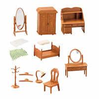 Casa de muñecas de la familia del bosque para niños, juego de muebles para casa de muñecas, Mini accesorios de juguete, TV, dormitorio, refrigerador casero, figurita Diy