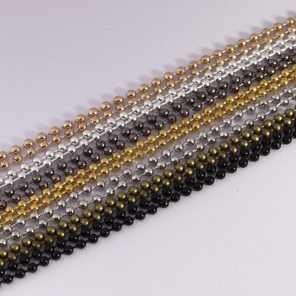 5M/lot 1.2-2.4mm Gold Silver Rhodium Iron Bulk Necklace Ball Chain For DIY Jewelry Making Supplies Chains Findings Accessories