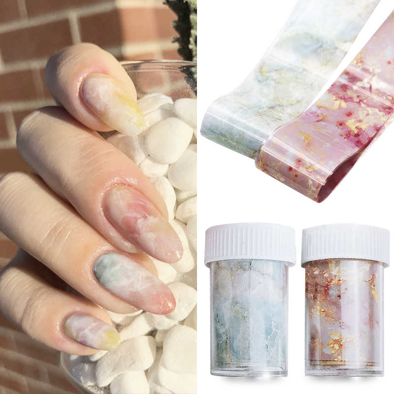 MIZHSE Nail Foil Sticker Marble Design Metallic Foil For Nail Slider Nail Art Transfer Sticker Slide Nail Art Decal 1 Box