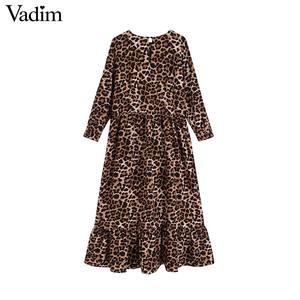Image 3 - Vadim נשים שיק אדום הדפס מנומר midi שמלת בעלי החיים דפוס ארוך שרוול בציר נשי מזדמן אמצע עגל שמלות vestidos QC730