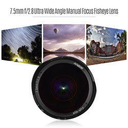 Andoer 7.5mm f/2.8 Manual Focus Fisheye Lens 180° Ultra Wide Angle Compatible with Fujifilm Olympus Canon Mirrorless Cameras