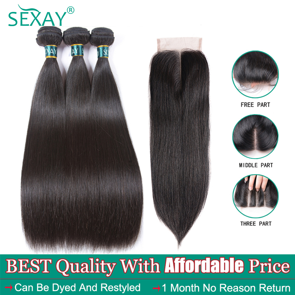 Malaysian Straight Hair Bundles With Closure 4pc/lot Full Ends Non Remy Extension Human Hair Weave 4x4 Lace Closure With Bundles