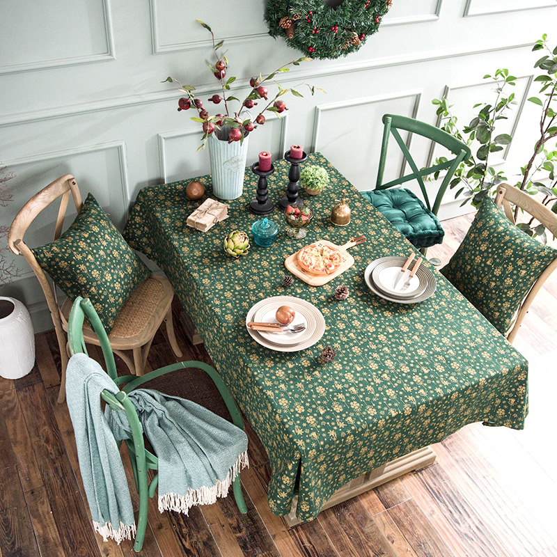 Bronzing Green Christmas Rectangular Tablecloths <font><b>Holiday</b></font> Party Table Cloth <font><b>for</b></font> <font><b>Home</b></font> <font><b>Decor</b></font> Mantel <font><b>Xmas</b></font> <font><b>Decor</b></font> Supplies Houseware image
