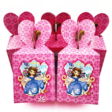 6pcs/lot Sofia Princess Party Supplies Candy Box Birthday Theme Loading Gift Loot Decoration Happy Kids Favor