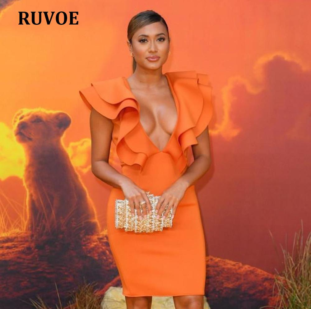 Women Celebrity Bandage <font><b>Dress</b></font> 2019 Ruffles Deep V-Neck Bodycon Bandage <font><b>Dress</b></font> <font><b>Orange</b></font> <font><b>Sexy</b></font> Evening Party <font><b>Dress</b></font> Club SO-5 image