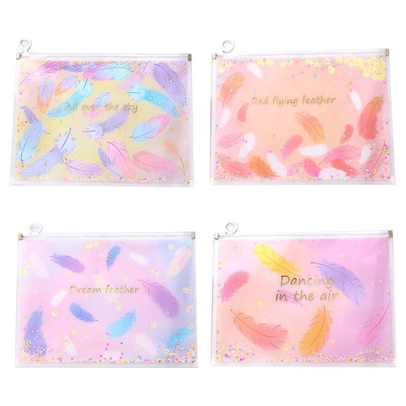 Feather Quicksand Waterproof PVC File Bag Pencil Case Folder Envelopes Document 19QA