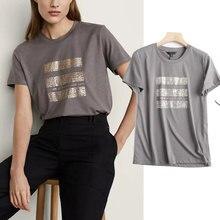 Welken Harajuku T-shirt England Stil Vintage Brief Druck Oansatz Baumwolle Sommer T Shirt Frauen T-shirt Verano Mujer 2021 Tops