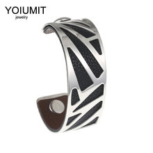 Yoiumit Stainless Steel Jewelry Arm Cuff Bracelet Manchette Cremo Bangles For Women Bijoux Interchangeable Leather Pulseiras(China)