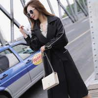 Autumn Winter Women's Windbreaker Lapel Long Sleeve Bandage Vintage Casual Loose Long Trench Female Coat 2019 Korean Clothing