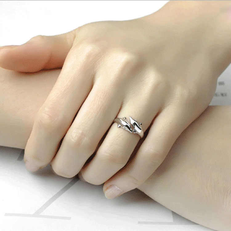 New Fashion Women Double Dolphin Opening Adjustable Ring Wedding Fine Jewelry Gifts MV66