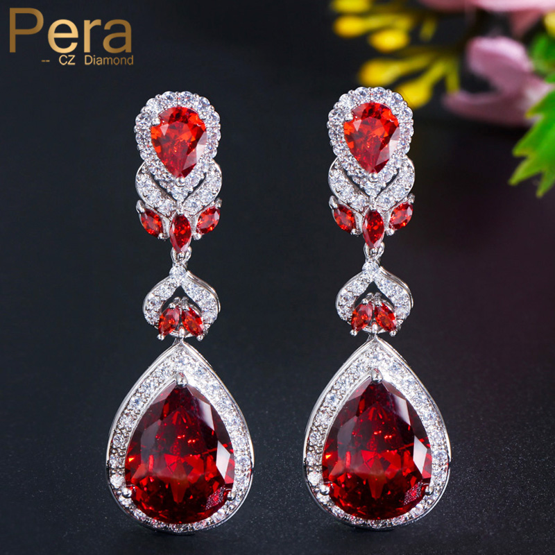 Pera Luxury Bridal Wedding Red Cubic Zirconia Ear Long Jewelry Silver Color Big Dangle Drop Earrings for Women Accessories E222