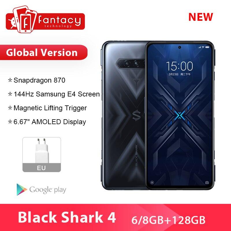 Новый 2021 Черная Акула 4 5G глобальная версия смартфонов Snapdragon 870 8 ГБ 128 144 Гц активно-матричные осид, Дисплей Код: NESHUTKA1500 (24000₽-1500₽ )
