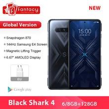 Novo 2021 preto tubarão 4 5g versão global smartphones snapdragon 870 8gb 128gb 144hz amoled display